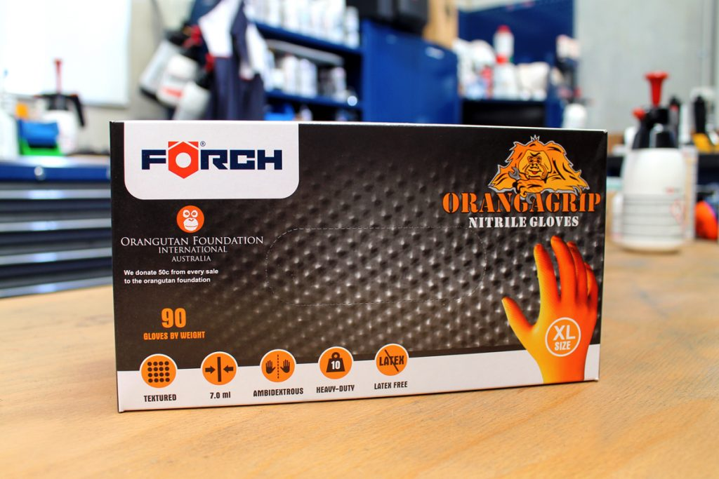 Forch Orangagrip Nitrile Safety Gloves perfect partner for cleaning with disinfectant spray